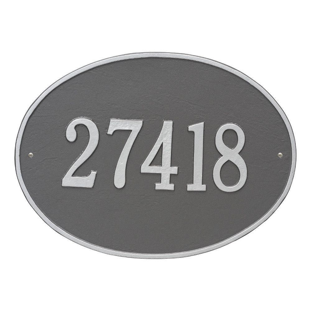 Whitehall Products Hawthorne Estate Oval Pewter Silver Wall 1 Line Address Plaque Whitehall Products Address Plaque Silver Walls