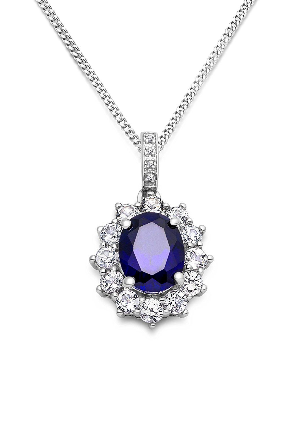 Miore women's 925 Sterling Silver Amethyst Zirconia Heart Pendant on 45cm Chain