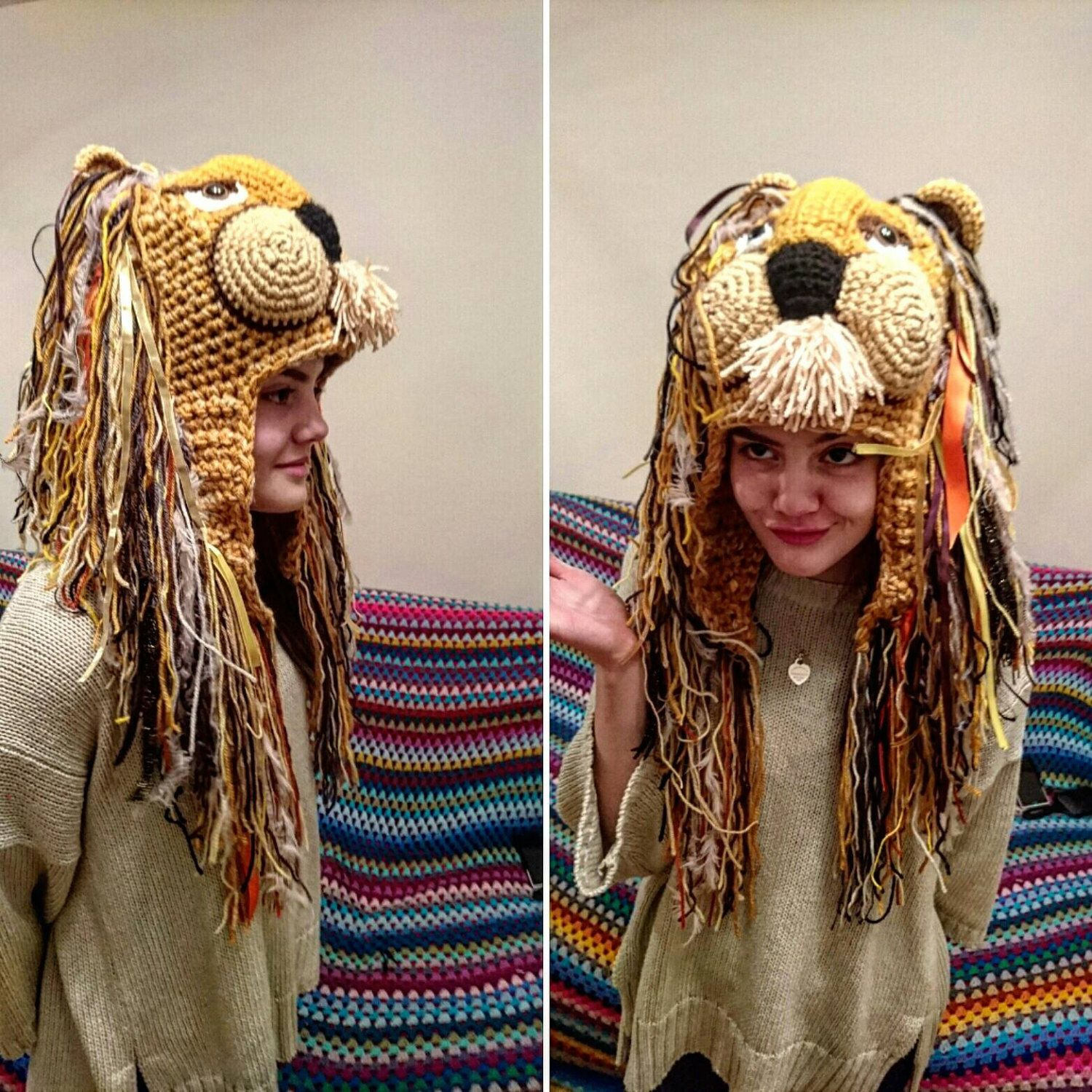 02f8db1d7ead6b Luna lovegood Crochet Lion Hat With Mane adult /luna lovegood/cosplay/  Halloween /
