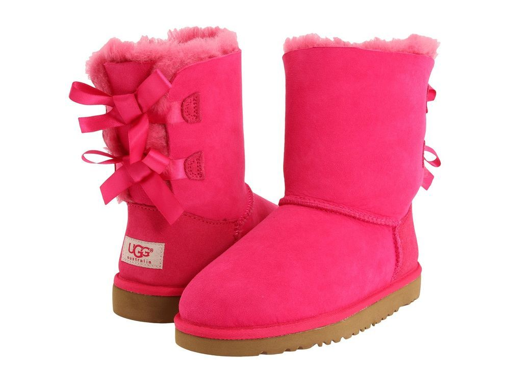 f87d444c6f6 Details about Ugg Australia Bailey Bow Girl's Cerise Pink Double Bow ...