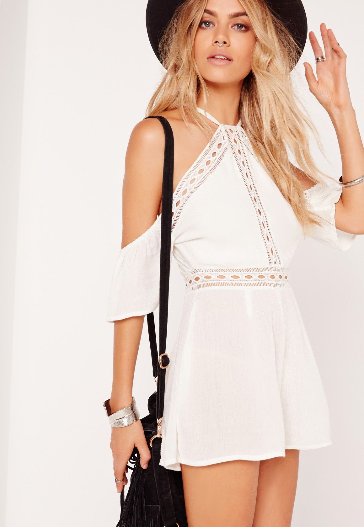 Missguided - Cheese Cloth Cold Shoulder Playsuit White