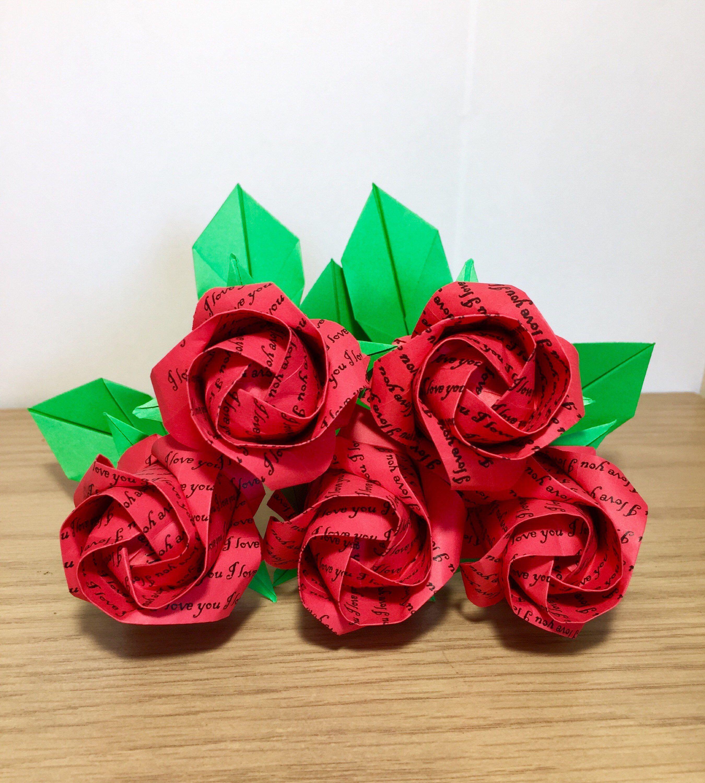 Origami paper rose origami flower paper flower paper | Etsy | 3000x2700