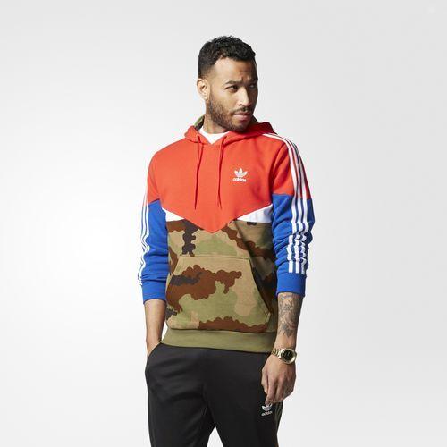 adidas - Essentials Pullover Hoodie Code: Color Vivid Red / Earth Khaki /  Collegiate Royal