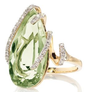 green quartz and diamond ring - anillo cuarzo verde y diamantes ♛
