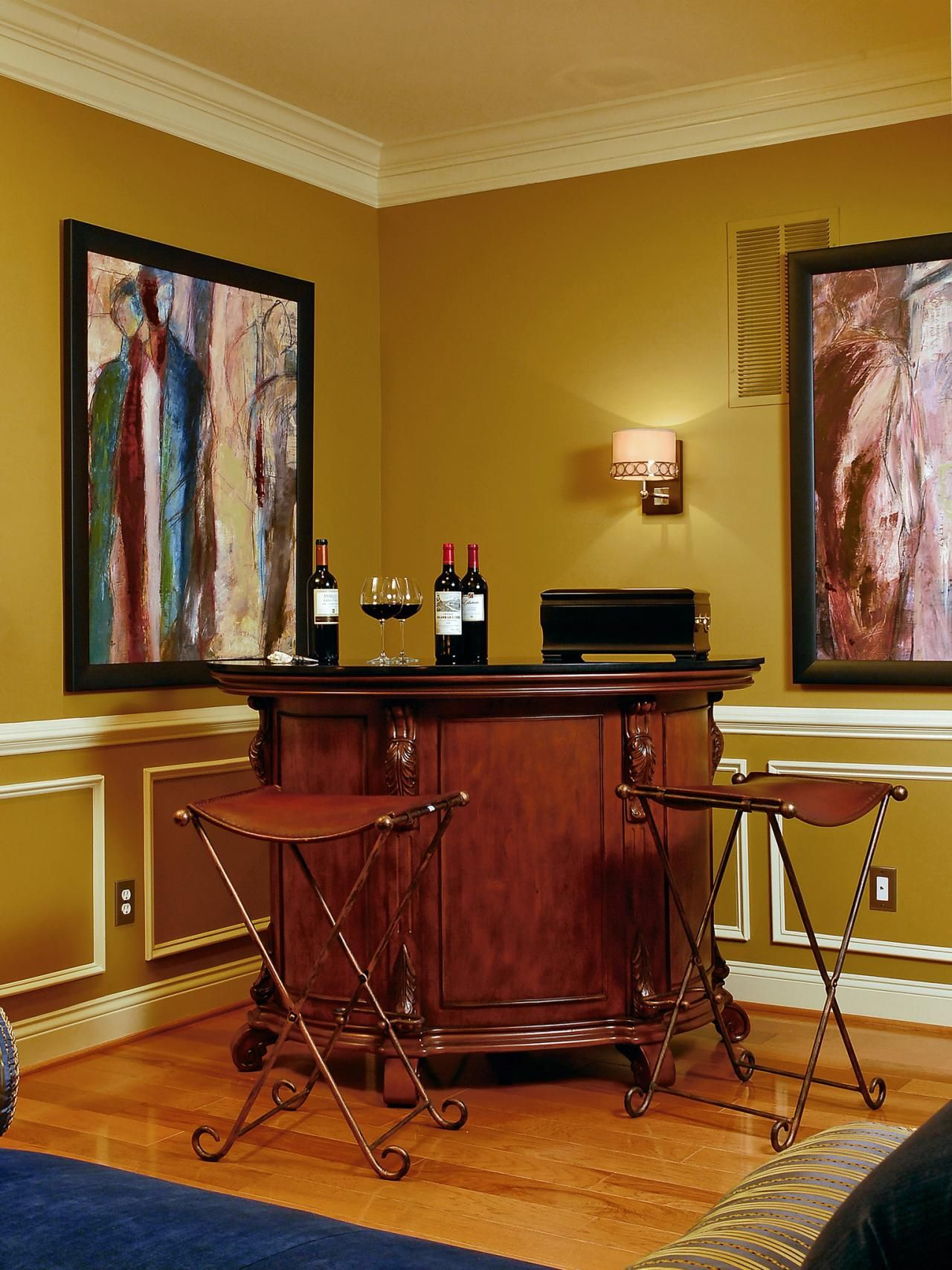 A Beautiful Wood Stand Alone Bar Graces One Corner Of This Living