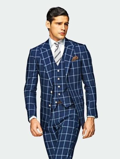 Blue windowpane plaid three-piece suit.