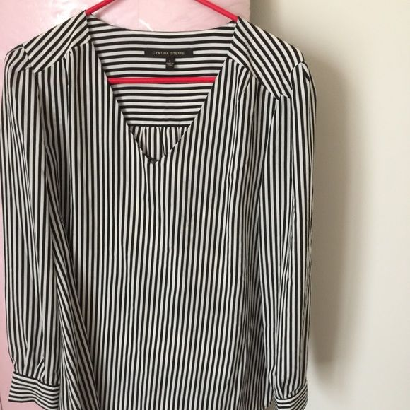 Striped Blouse New! Never worn tags still attached Striped blouse. Can wear to work and still fit in after work at Happy Hour. Pair these with flats and and some MAC Ruby Woo for the cleanest nautical look. Cynthia Steffe Tops Blouses