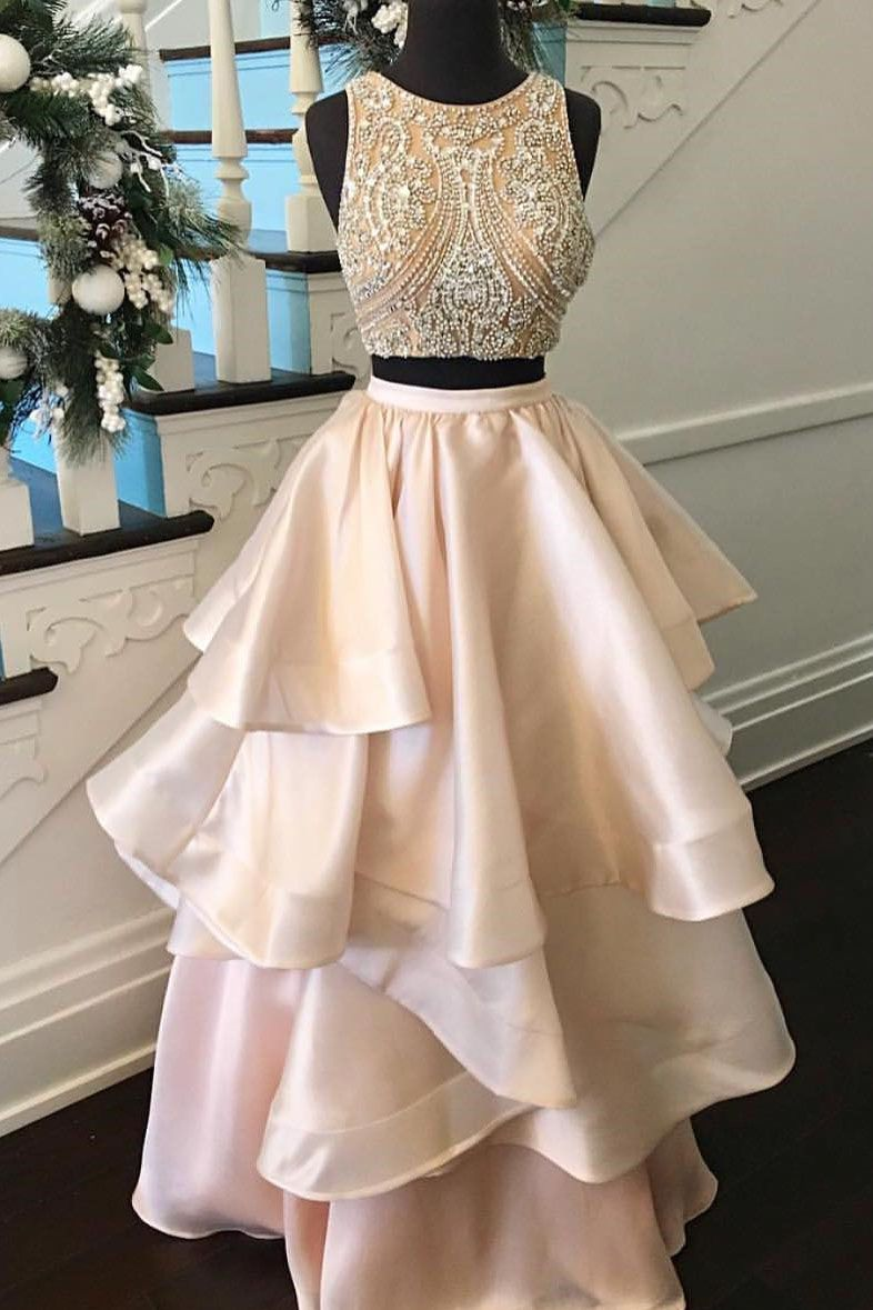 Gorgeous Two Piece Champagne Beads Long Prom Dress | 2018 elegant ...