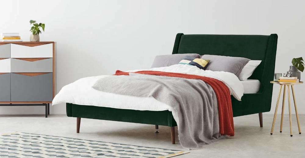 Higgs King Size Bed Pine Green Velvet In 2020 Super King Size
