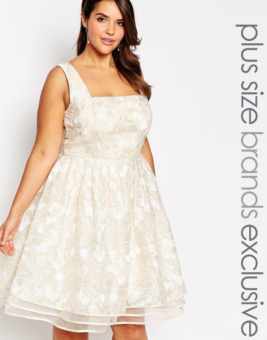 Chi Chi London Plus Floral Lace Midi Prom Dress | wedding maid of ...
