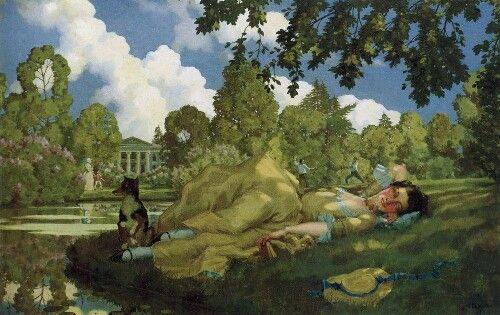 Klimt. Young woman sleeping ln park. | Краска, Художники ...