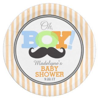 Oh Boy Mustache Baby Shower 9 Inch Paper Plate  sc 1 st  Pinterest & Oh Boy Mustache Baby Shower 9 Inch Paper Plate | Baby Shower : Plate ...