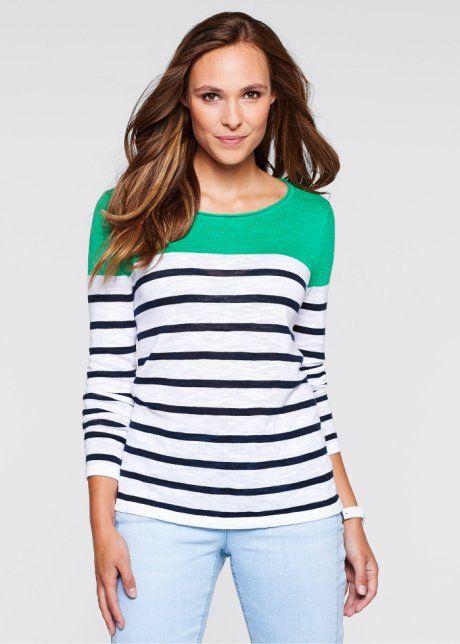 Slub-Garn-Pullover mit langen Ärmeln, bpc bonprix collection