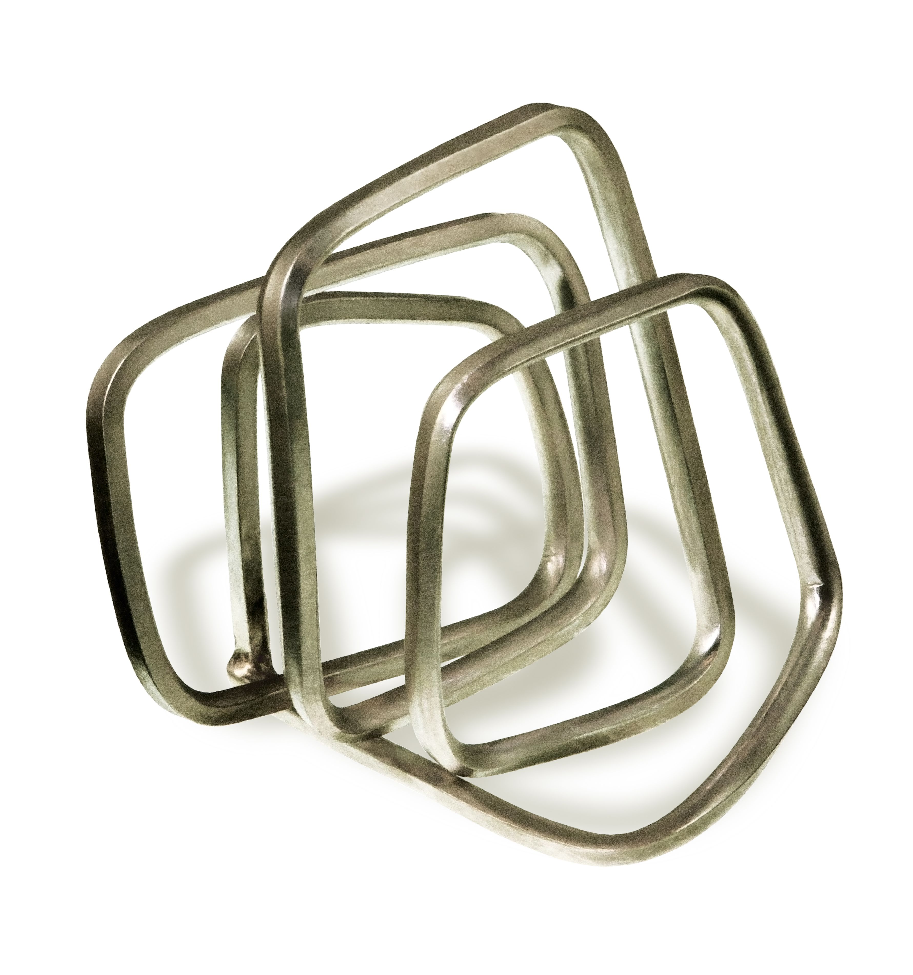 'no pressure' sculptural silver ring by Linnie Mclarty