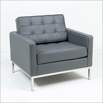 Florence Knoll Lounge Chair Reproduction Charcoal Gray Leather Mid Century Modern