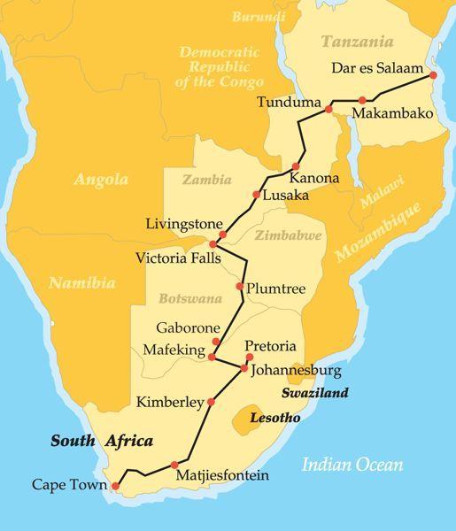 Rovos Rail's luxury train The Pride of Africa runs between
