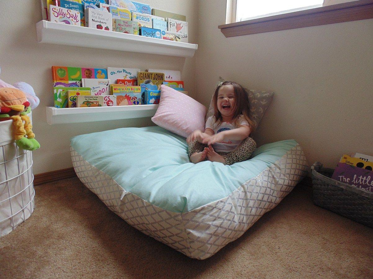 DIY Giant Floor Pillow + Hadley\'s Finished Reading Nook | Floor ...