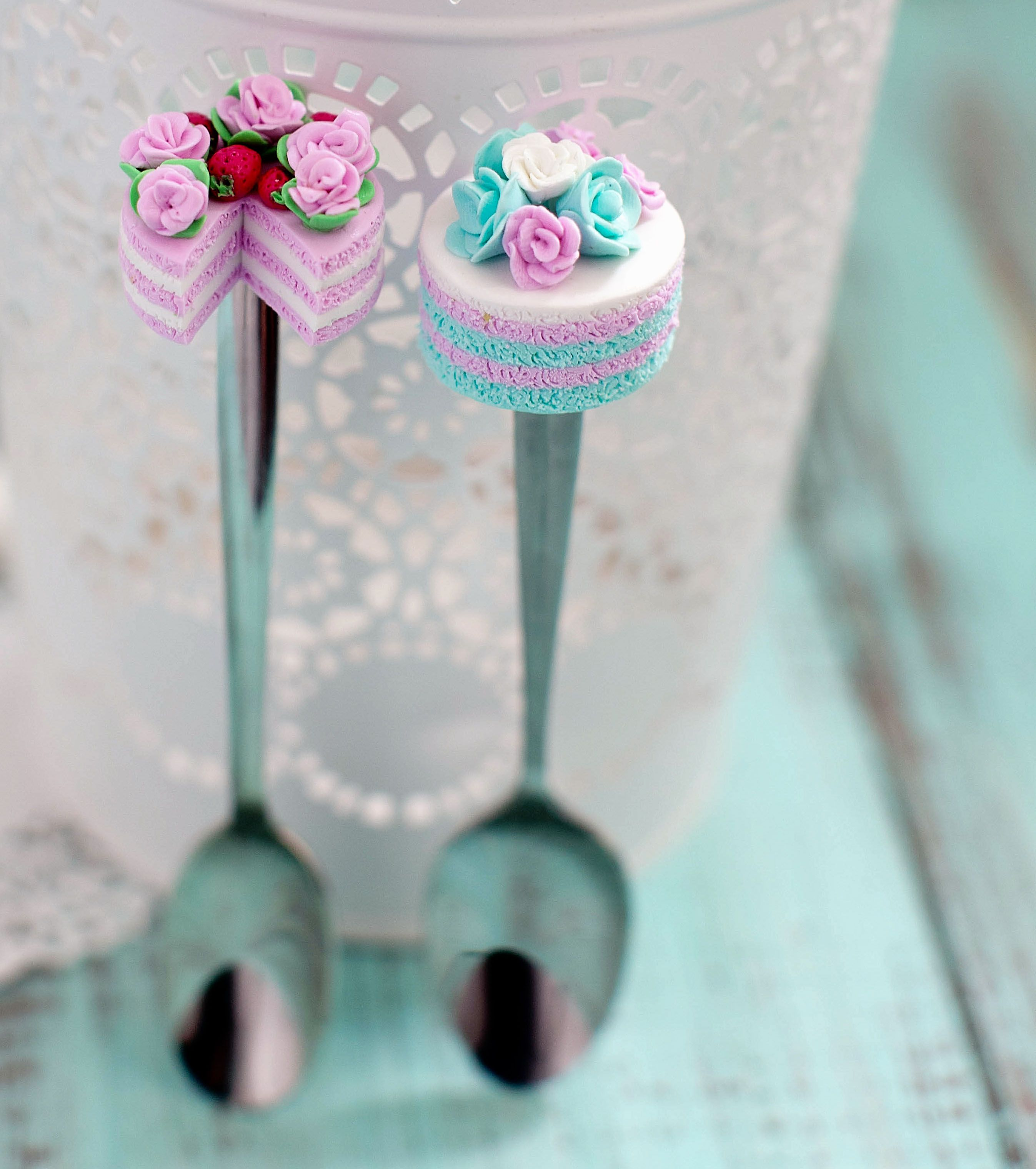 polymer clay spoon cake