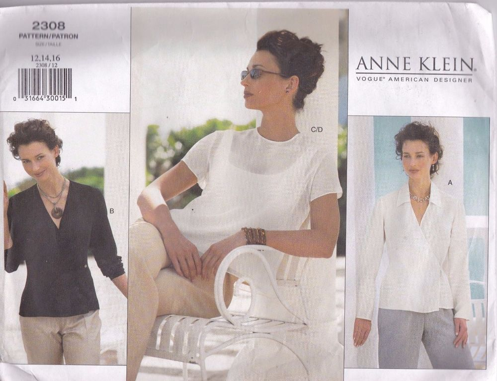 Anne Klein Vogue 2308 Sewing Pattern Blouse To 12 14 16 Uncut Factory Folded #VogueAmericanDesigner