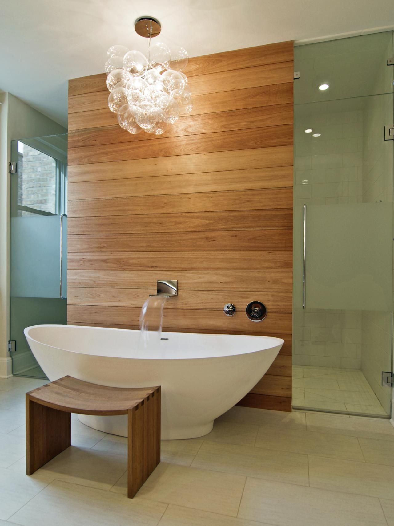 15 dreamy spa inspired bathrooms hgtv freestanding tub and cedar walls. Black Bedroom Furniture Sets. Home Design Ideas