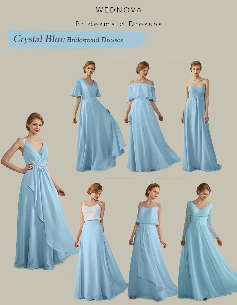 Amazing crystal blue bridesmaid dresses long different style