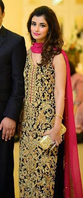 54ef02849d Dark Green Gold Long Shirt With Shocking Pink DRess ! So RaVishing .. Mina  Hassan