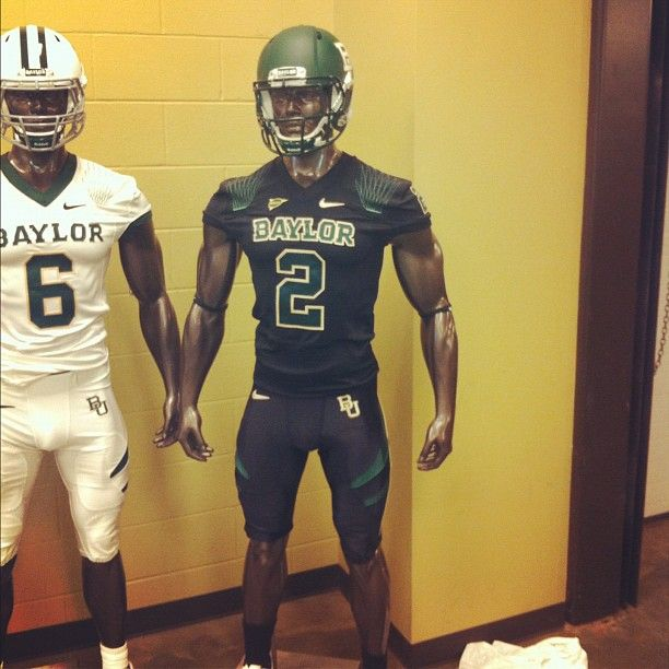 Re-done Baylor black uniforms with green and gold numbers. Awesome ... 2c9c631bf