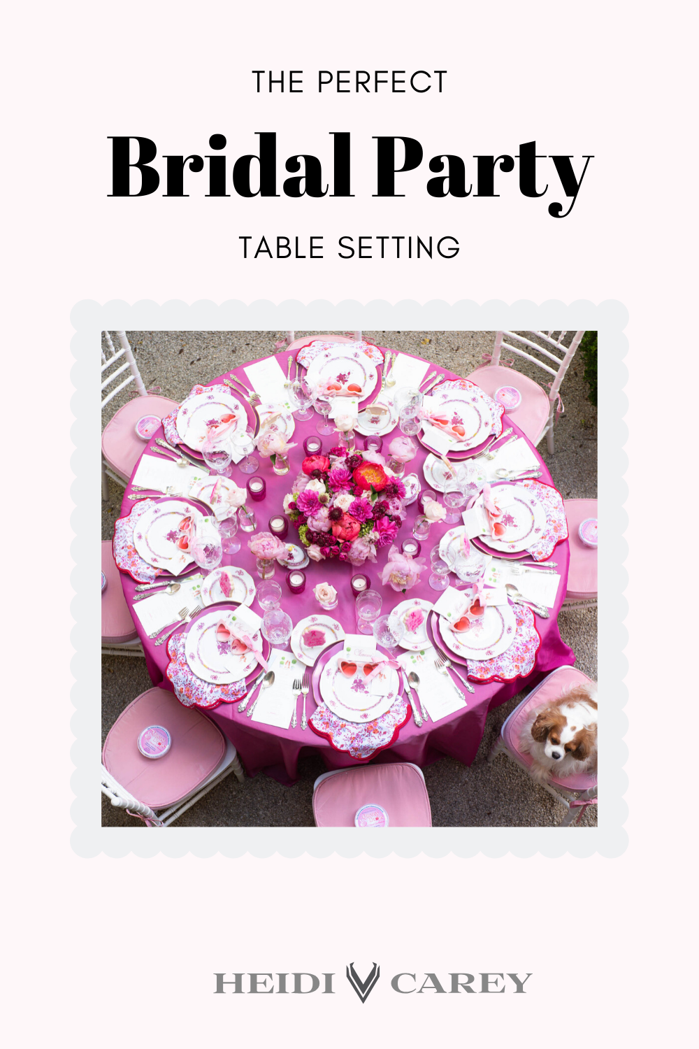 Stylish bridal party Table setting by Heidi Carey. Shop our Pink Floral Scalloped Napkins for your perfect bridal shower. #HeidiCarey #TableSetting #MatronOfHonor #BridalShower #WeddingDay #WeddingGift #BridalGift