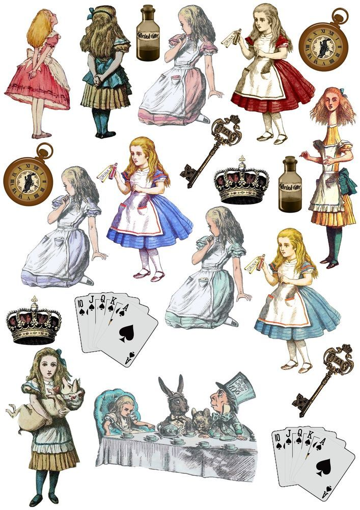 Alice in Wonderland Stand Up Edible Clipart Cake/Cupcake Rice Paper ...