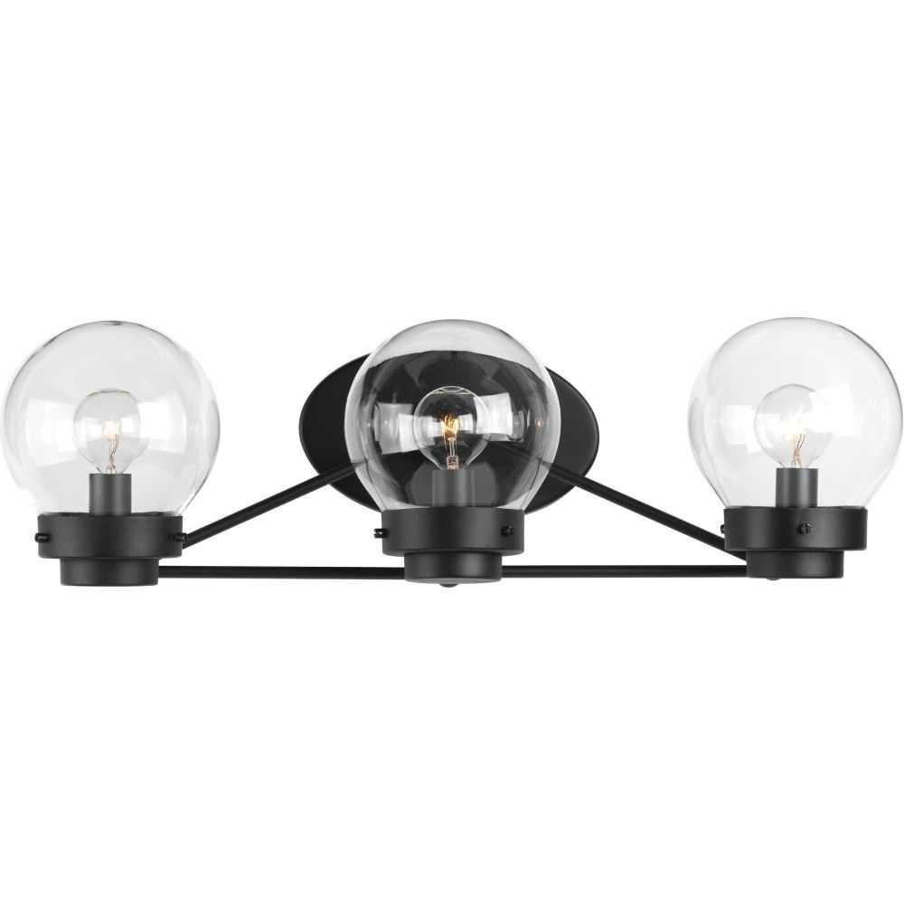 Photo of Spatial – Three light bad vanity black finish with clear glass