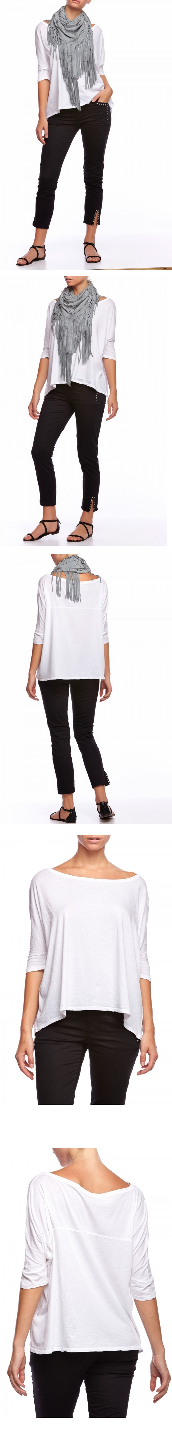 Very comfortable and stylish, with a wide neckline and loose underneath the sleeves. Angled sides around the waist. This loose-fitting 3/4 sleeved shirt wears well with the Hunkydory 4 Pocket Twill Pant and Leather Body Huggers. #Magentacouture #Designer #Hunkydory #JerseySquare http://magentacouture.com/detail/jersey-square#sthash.CzbwGSUt.dpuf