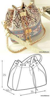 bolsa de bolsa de costura, bolsa con cordón, patrón de bolsa, fr …