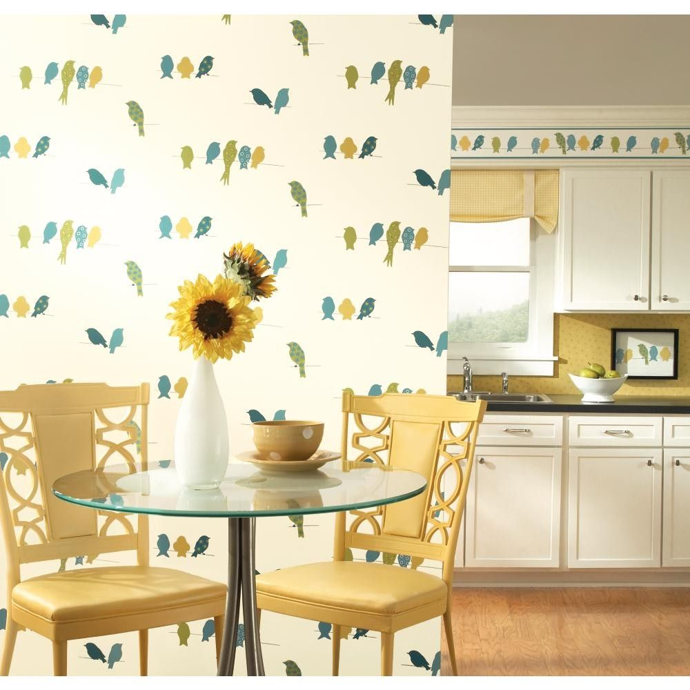 York Wallcoverings Bistro 750 Bird On A Wire Wallpaper KB85 http ...