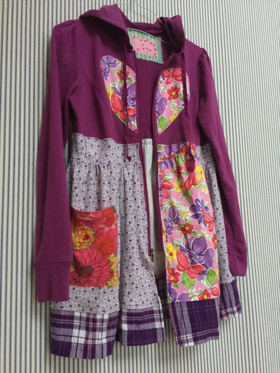 Adorable Upcycled Purple Patchwork Hoodie all Cotton reclaimed Materials.  Tiny Print Lavender Jersey Knit 2b6e39c90c1cc
