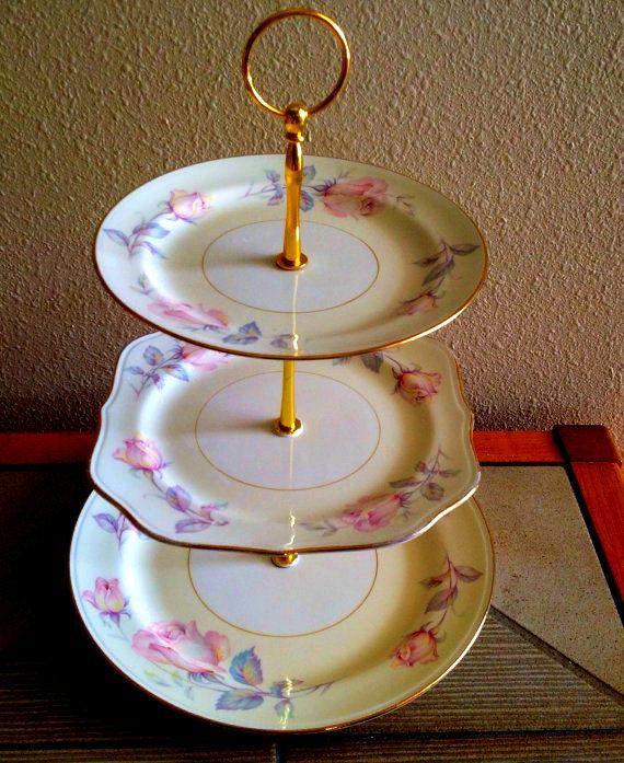 3 Tier Cake Plate Stand Cupcake Dessert Server by Botanicalgems & 3 Tier Cake Plate Stand Cupcake Dessert Server by Botanicalgems ...