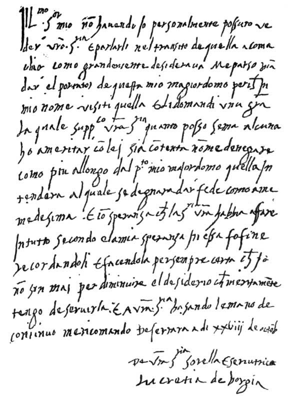 Personal letter written by lucretia borgia as scribal arts personal letter written by lucretia borgia thecheapjerseys Gallery