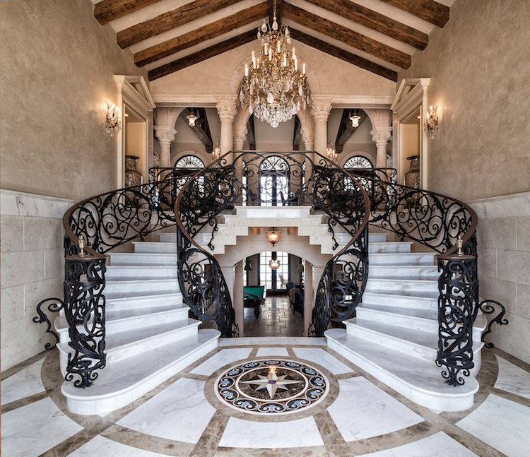 Double Staircase Foyer: $9,950,000 Luxury Foyer Dual