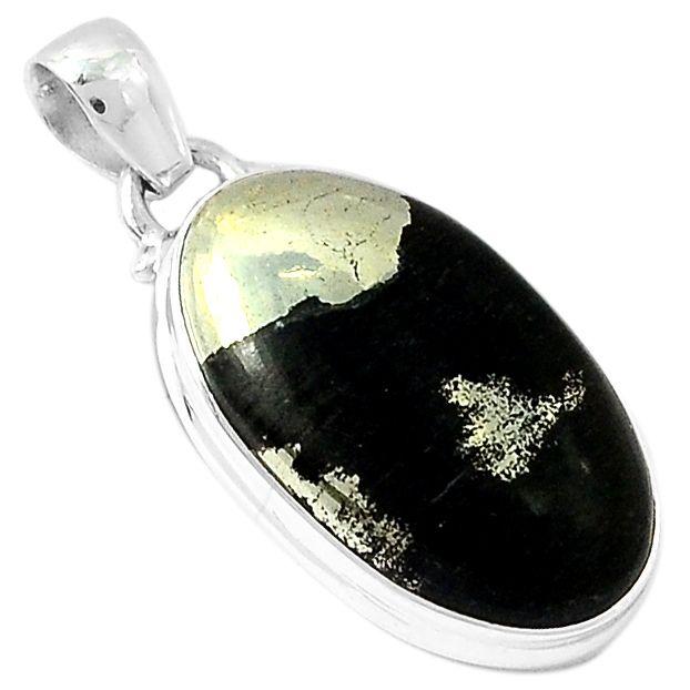 Pyrite in Magnetite 925 Sterling Silver Pendant Jewelry PIMP135 - JJDesignerJewelry