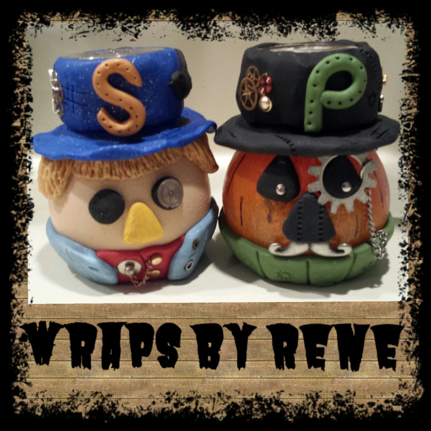 Steampunk Scarecrow and Pumpkin Shakers by WrapsbyRene on Etsy