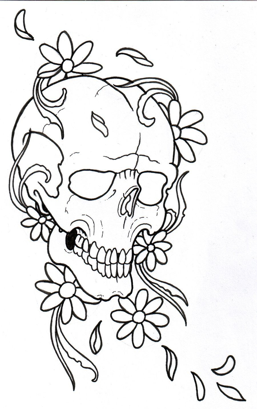 Tattoo Outlines Flowers Black And White: Tattoo Flower Outline Flower Outline Drawing