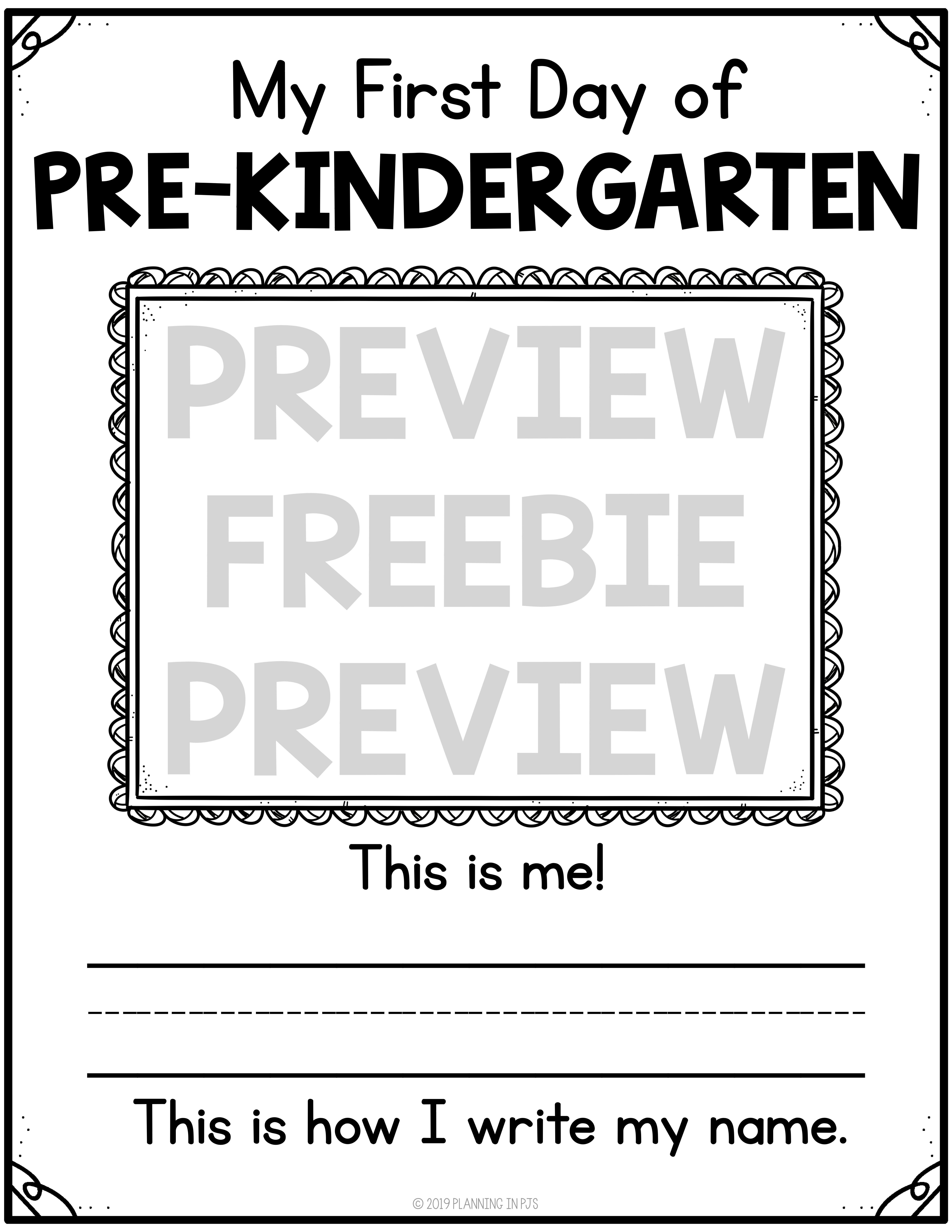 First And Last Day Of Pre Kindergarten Freebie Self