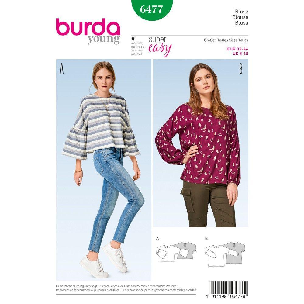 Schnittmuster - burda style - Bluse mit angeschnittenen Ärmeln ...