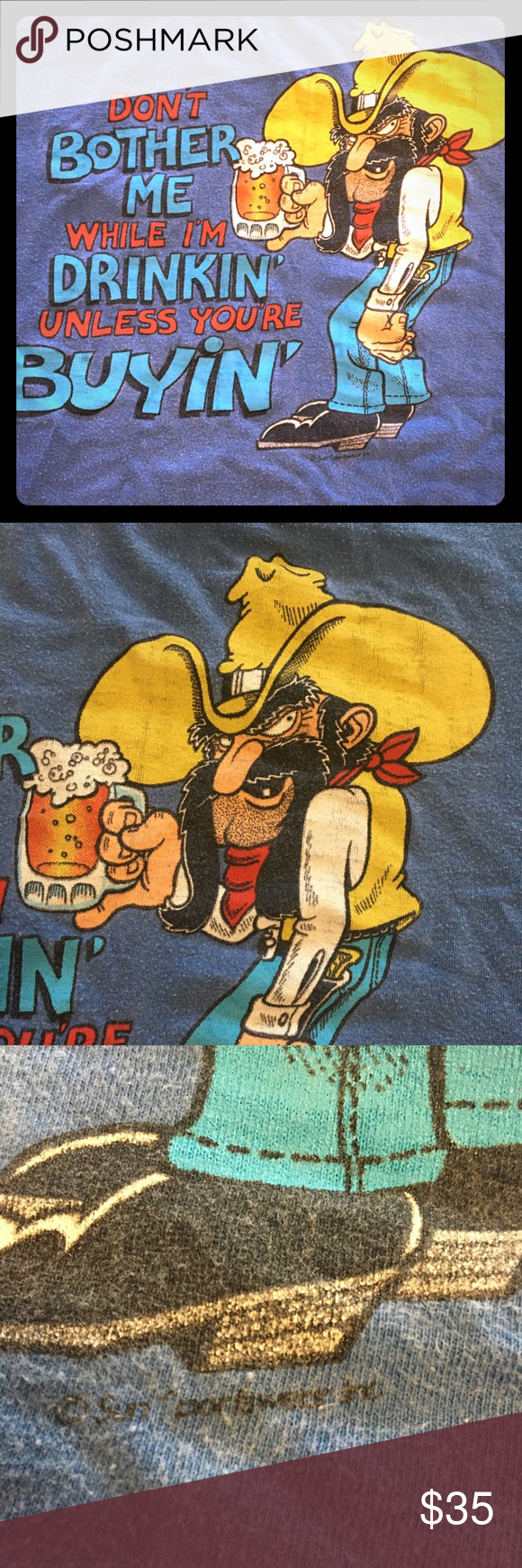 Photo of Vintage 1984 Cowboy with Beer Single Stitch Tshirt Vintage 1984 Cowboy drinking … – My Posh Closet