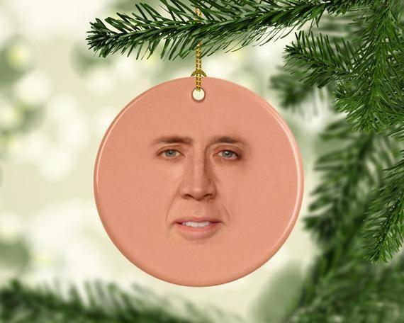 St. Nicolas Cage Christmas Ornaments, Funny Dirty Santa, Secret Santa or Gag Gift