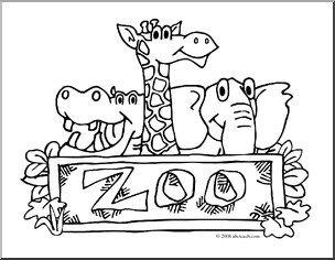 Clip Art Zoo Graphic Coloring Page Preview 1