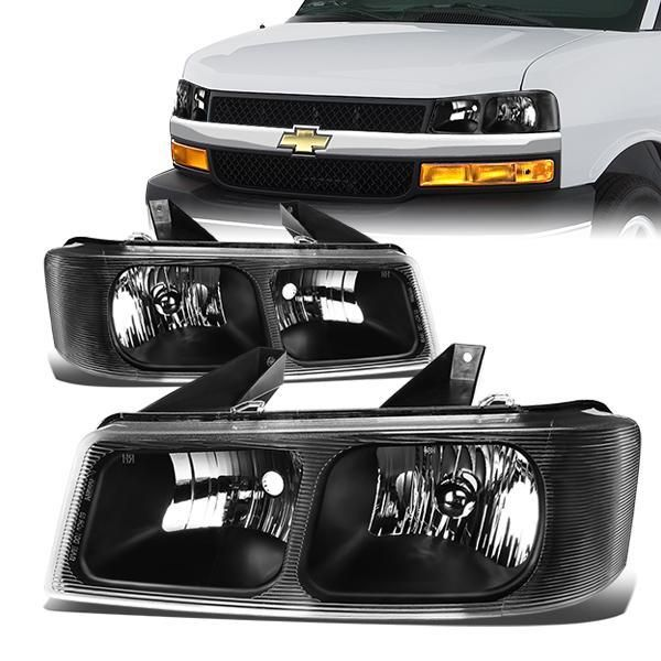 03 20 Chevy Express Gmc Savana 1500 2500 3500 Headlights Black