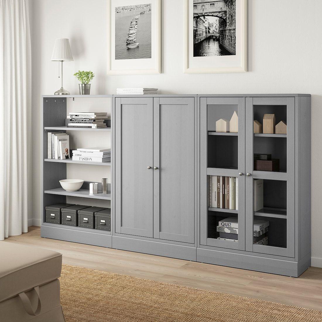 Havsta Storage Combination W Glass Doors Gray 95 5 8x14 5 8x52 3 4 Ikea In 2020 Living Room Storage Cabinet Ikea Dining Room Dining Room Storage