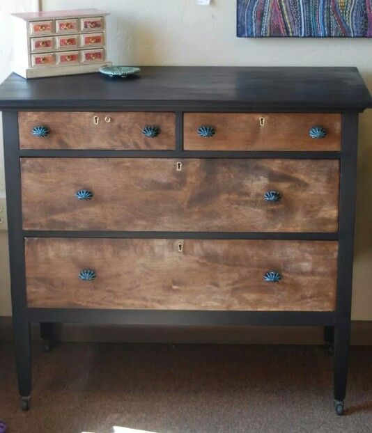 Beautiful Gf Lamp Black Wood 1920 S Chest Of Drawers By