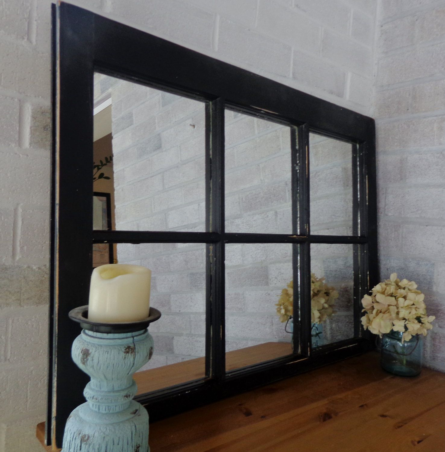 Black 6 Panel Window Mirror Things I Love Pinterest