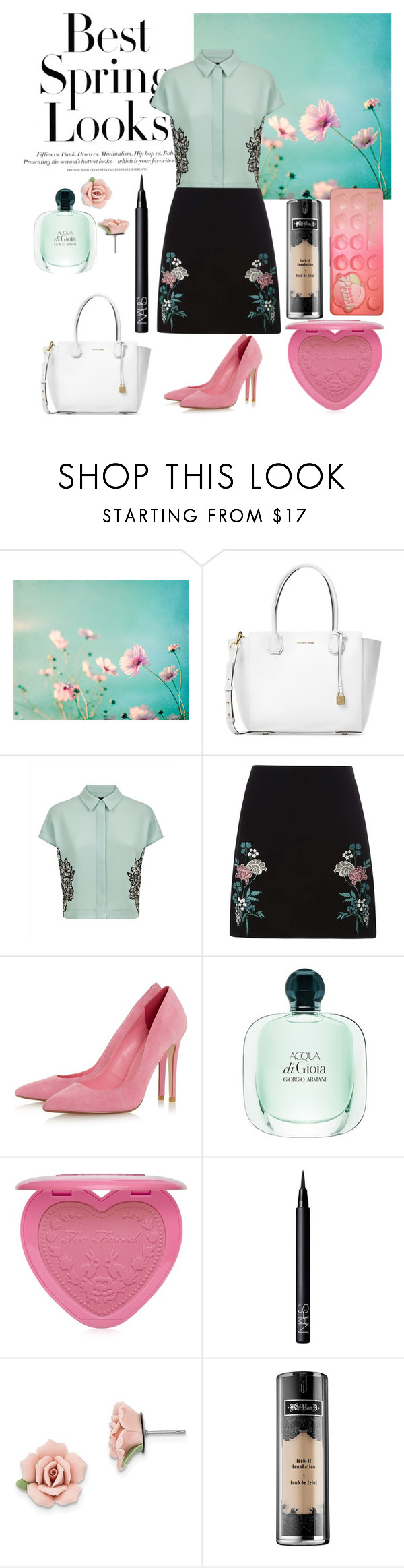 """""""Spring Gal"""" by juliet-l ❤ liked on Polyvore featuring Michael Kors, H&M, Jaeger, Dorothy Perkins, Too Faced Cosmetics, NARS Cosmetics, 1928 and Kat Von D"""